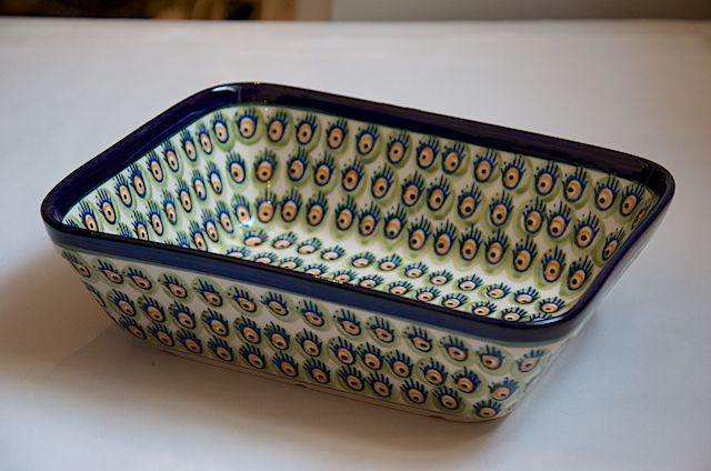 Polish Pottery Orange Green Peacock Oven Dish