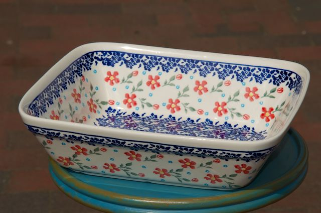 Polish Pottery Red Blue Flower Oven Dish