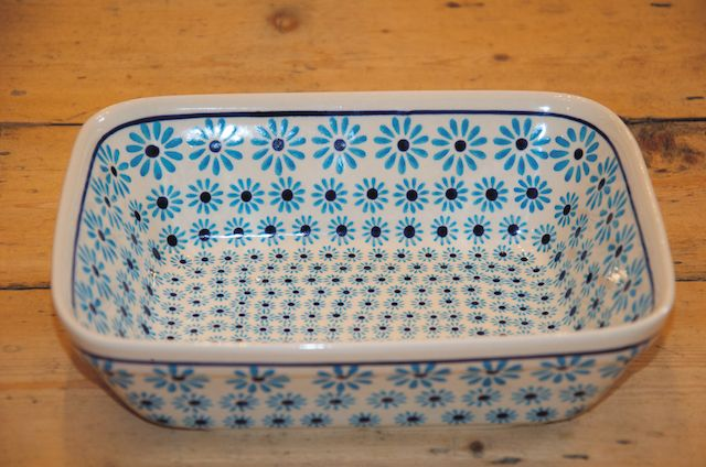 Polish Pottery Turquoise Daisy Oven Dish
