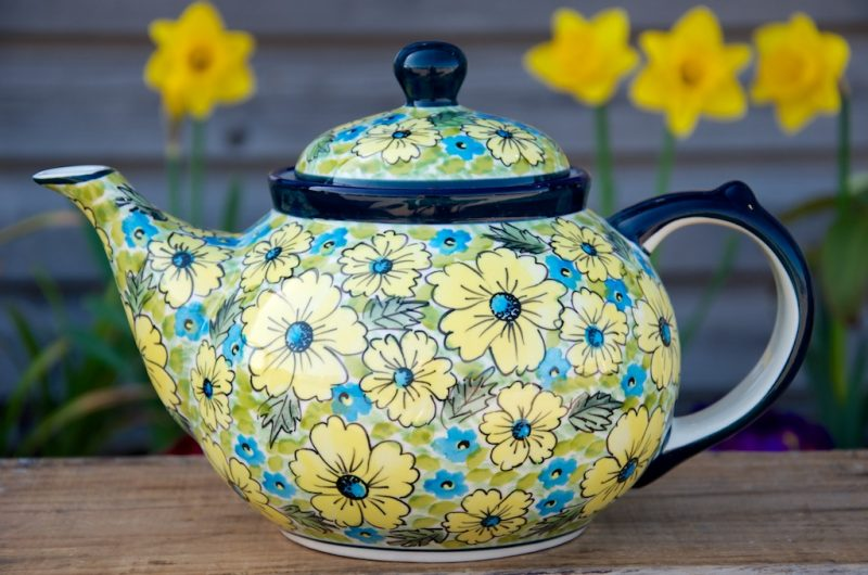 Polish Pottery Yellow and Blue Flower Teapot