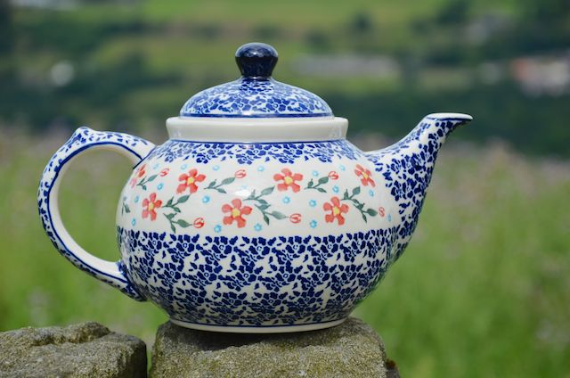 Polish Pottery Blue and Red Flower Teapot