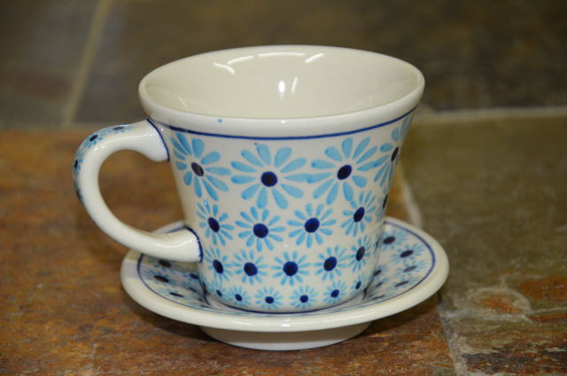 Polish Pottery Turquoise Daisy Cup and Saucer