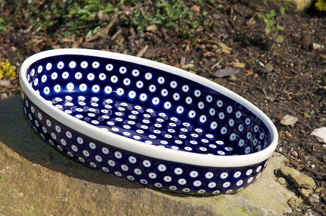 Polish Pottery Dark Blue Spot Medium Oval Oven Dish