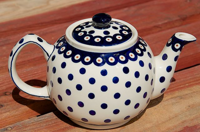 Polish Pottery Light Spot Teapot with Blue Rim