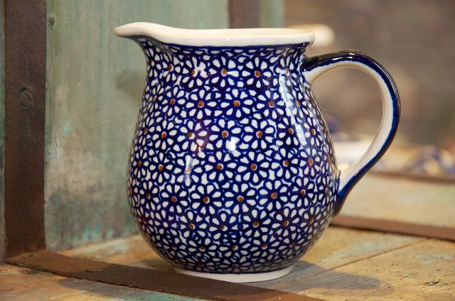 Polish Pottery Dark Daisy Small Jug
