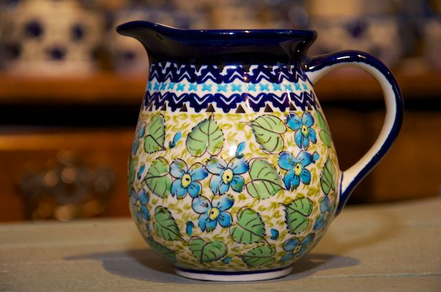 Green Leaf and Blue flower Small Jug