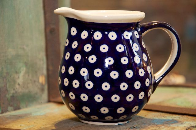 Polish Pottery Dark Blue Spot Small Jug