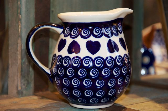 Polish Pottery Heart and Swirl Small Jug