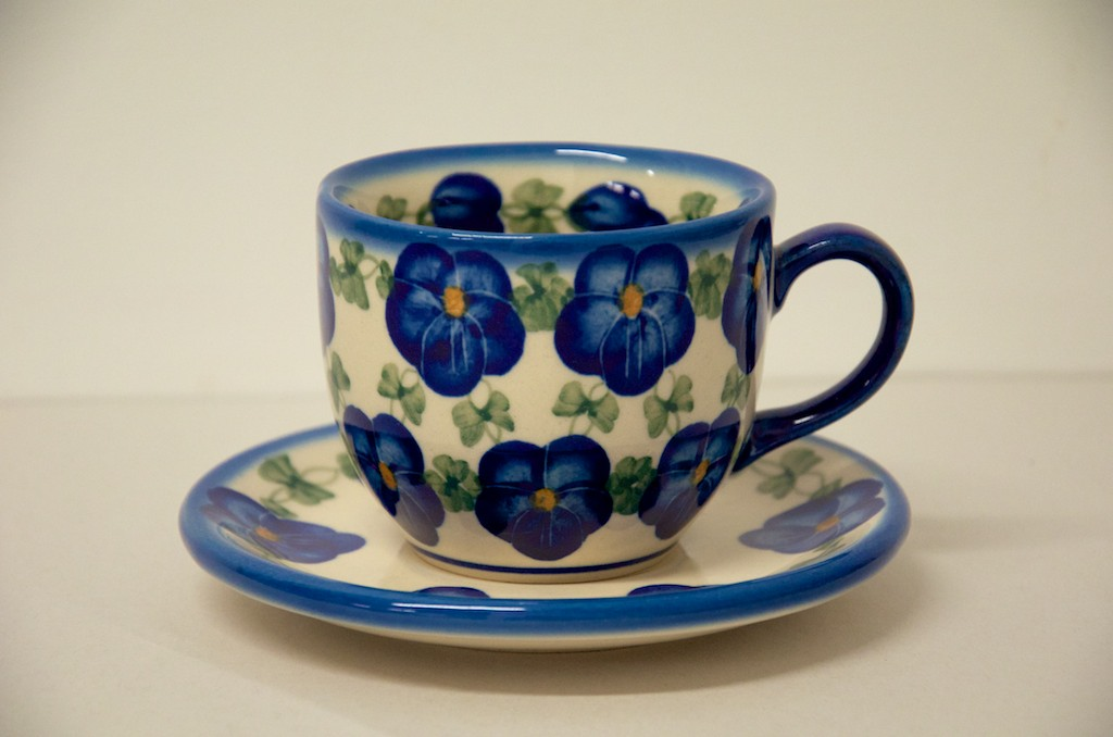 Polish Pottery Blue Pansy Cup and Saucer