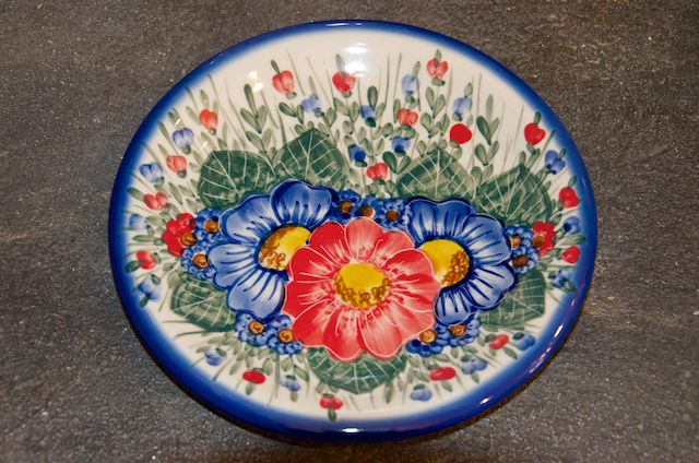 Polish Stoneware Pottery Large Flower Design Side Plate