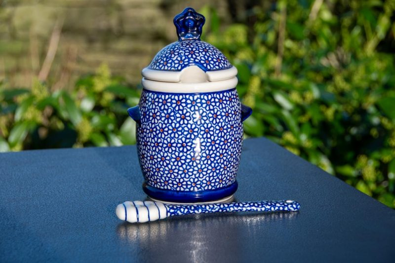 Blue Daisy Honey Pot with Matching Honey Stick Polkadot Lane Polish Pottery Shop