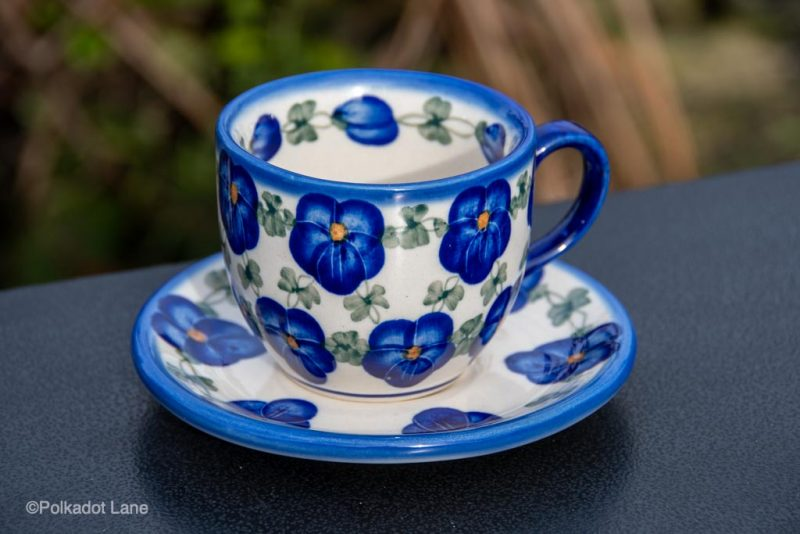 Blue Pansy Cup and Saucer from polkadot Lane Polish Pottery UK