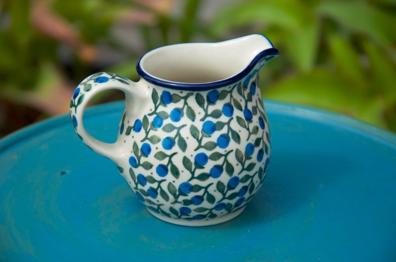 Polish Pottery Blueberry Leaf Creamer