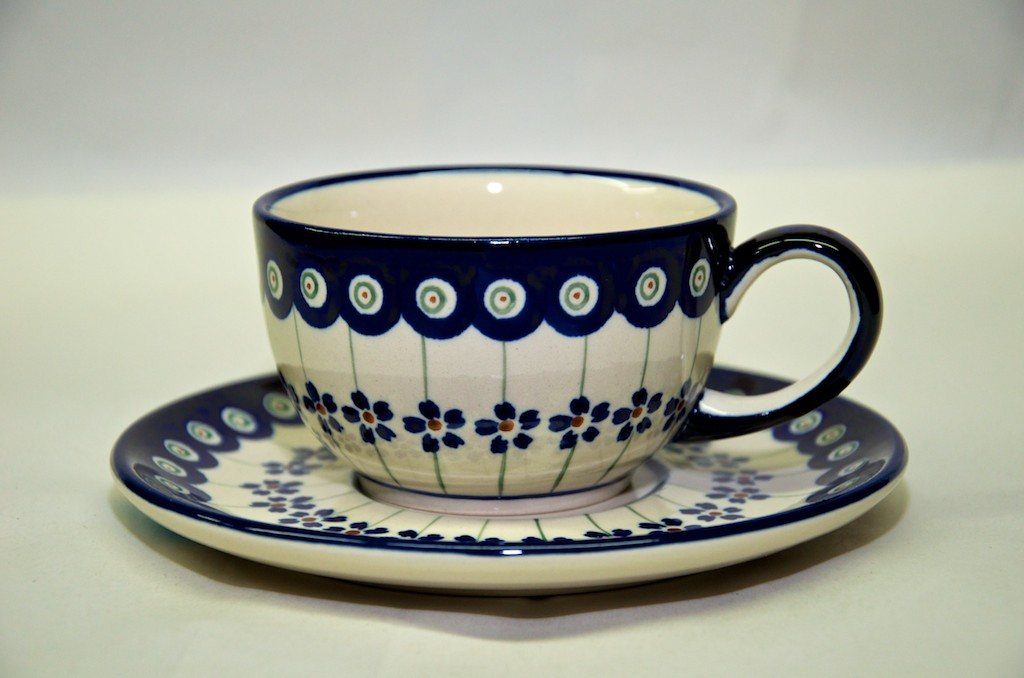 Polish Pottery Special Dark Spot Cup and Saucer