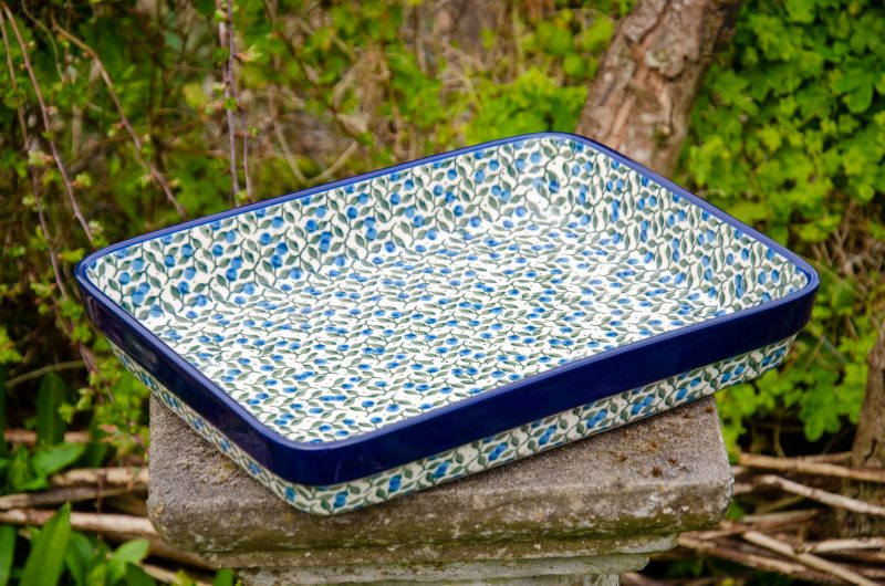Blue Berry Leaf Pattern Shallow Oven Dish by Ceramika Artystyczna