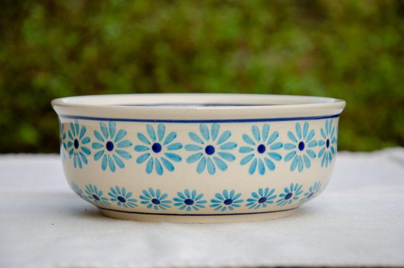 Turquoise Daisy Soup Bowl by Ceramika Zaklady