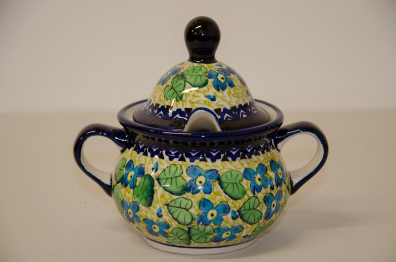 Green Leaf and Blue Flower Sugar Bowl by Ceramika Zaklady