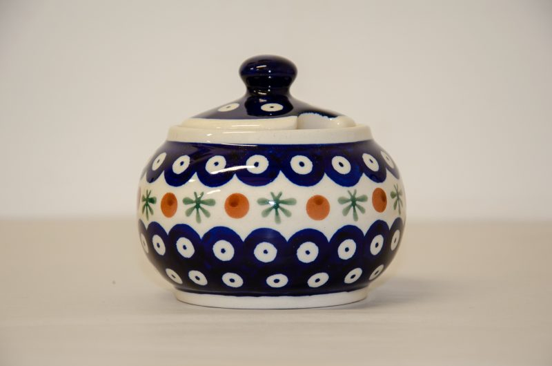 Polish Pottery Fern Spot Sugar Bowl