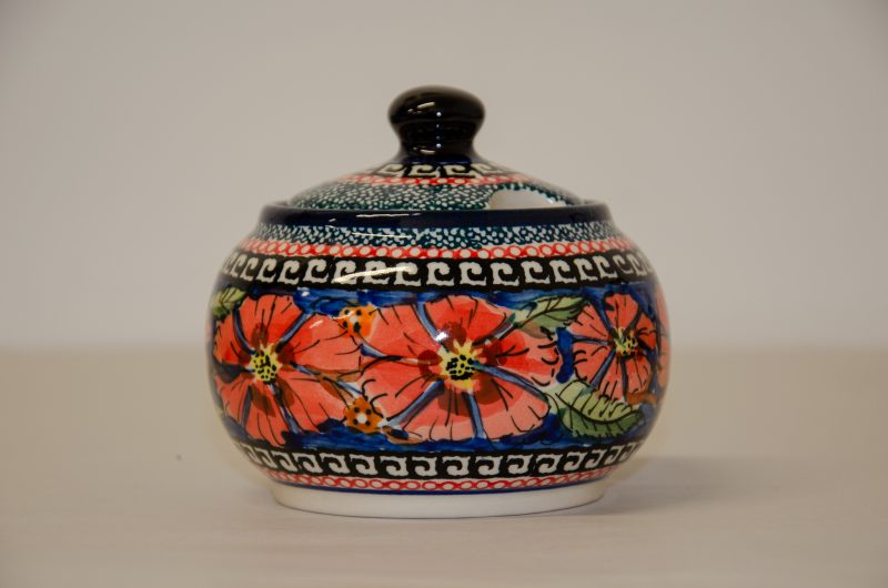 Polish Pottery Poppy Pattern Sugar Bowl