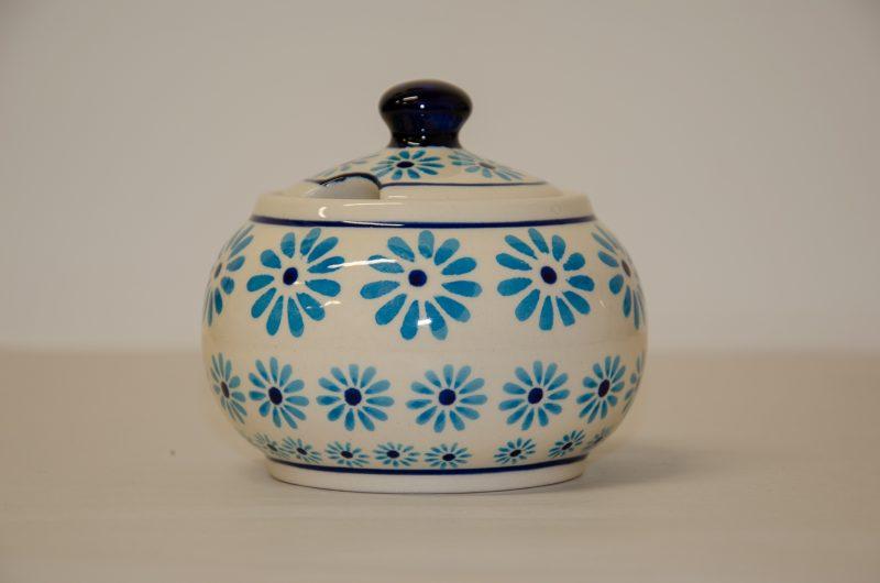 Turquoise Daisy Round Sugar Bowl by Ceramika Zaklady