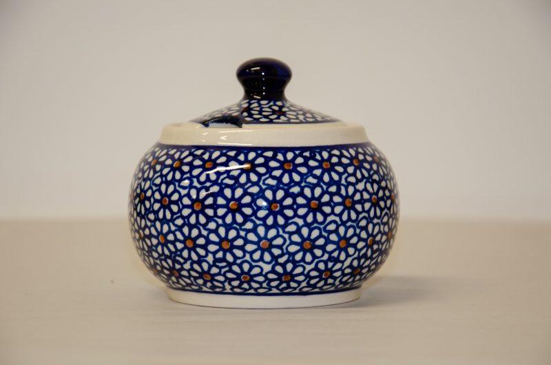 Polish Pottery Dark Daisy Sugar Bowl by Ceramika Zaklady