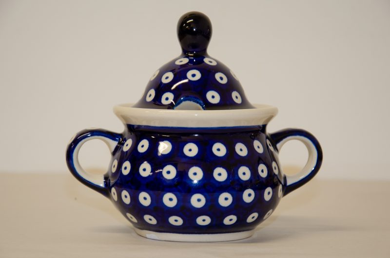 Polish Pottery Dark Blue Spot Sugar Bowl by Ceramika Zaklady