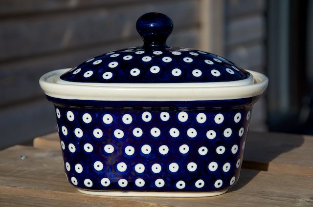 Polish Pottery Dark Spot large Butter Box