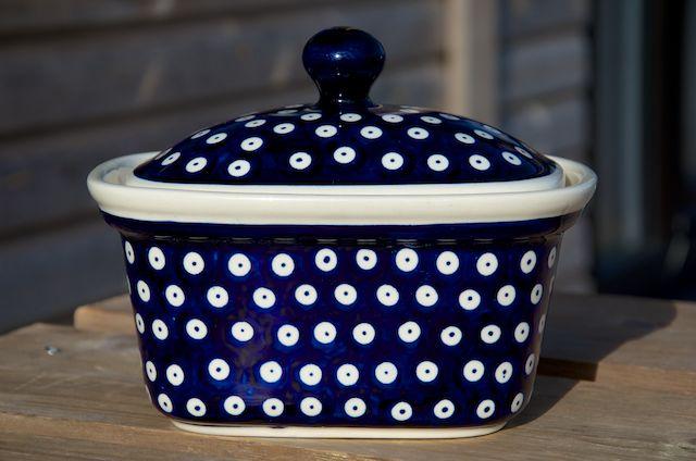 Polish Pottery Dark Spot large Butter Box