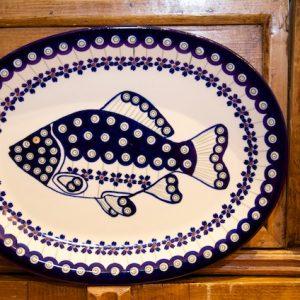 polish pottery oval fish plate