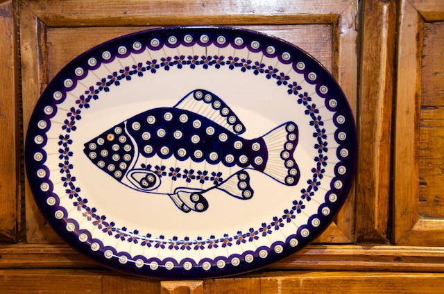 polish pottery oval fish plate