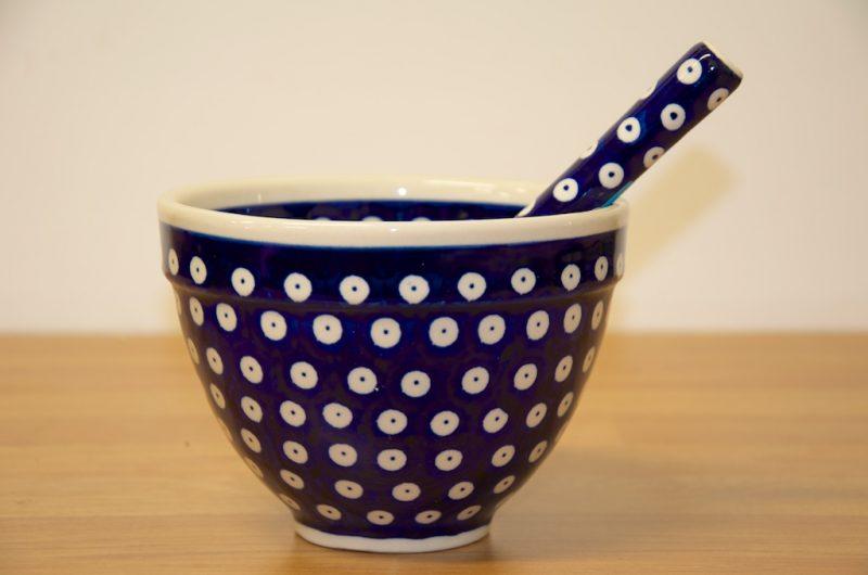 Polish Pottery Dark Blue Spot Pestle and Mortar