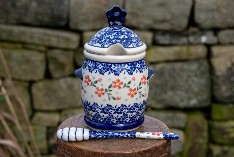 Polish Pottery Honey Pot with Ceramic Honey Stick from Polkadot Lane UK