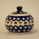 Polish Pottery Round Sugar Bowl Fern Spot
