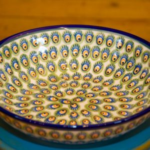 Polish Pottery Green and Orange Peacock Serving Bowl