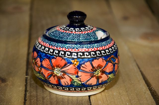 Polish pottery Poppy Round Sugar Bowl