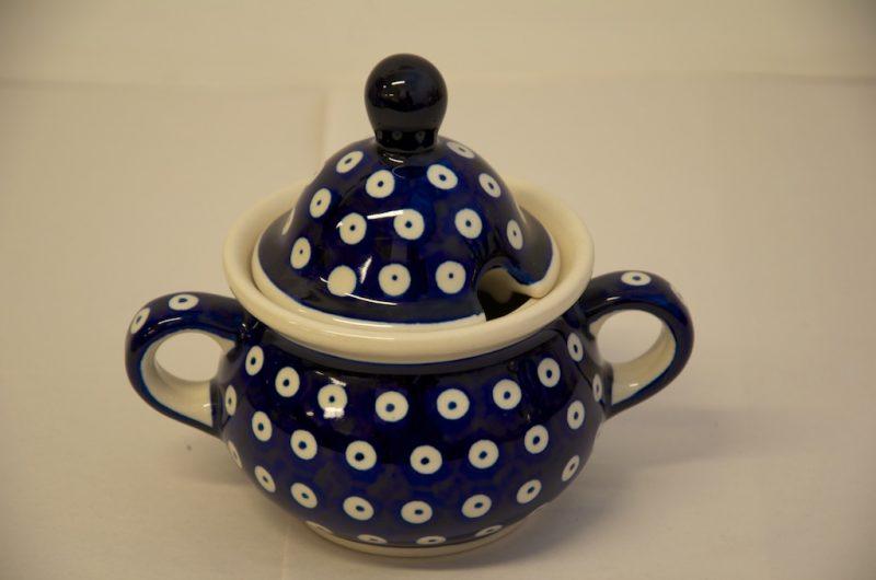 Polish Pottery Dark Blue Spot Sugar Bowl