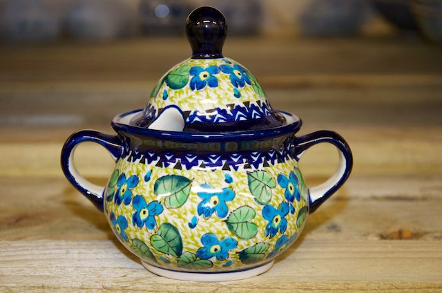 Polish Pottery Green Leaf and Blue Flower Sugar Bowl