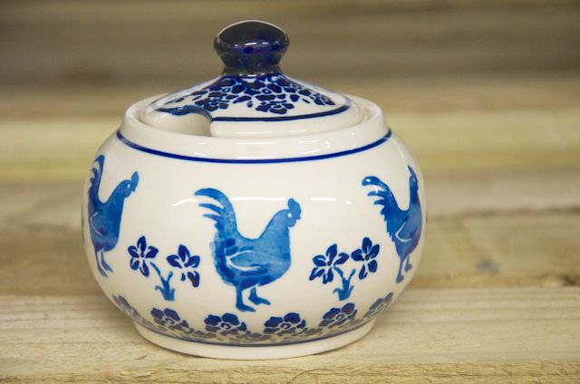 Polish Pottery Blue Cockerel Round Sugar Bowl