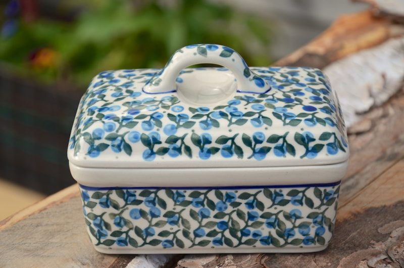 Polish Pottery Blue Berry Leaf Butter Box