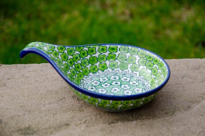 Polish Pottery Green Meadow Nibble Dish by Ceramika Artystyczna