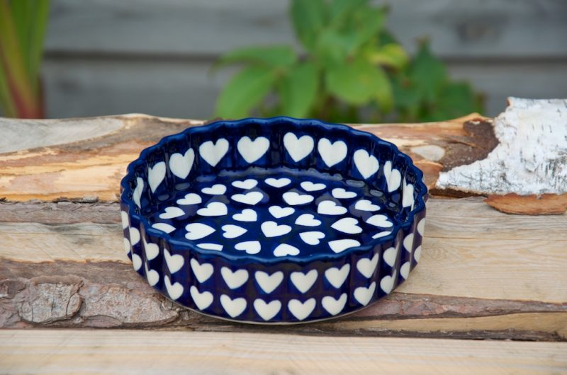 Polish Pottery Large Heart Small Flan Dish