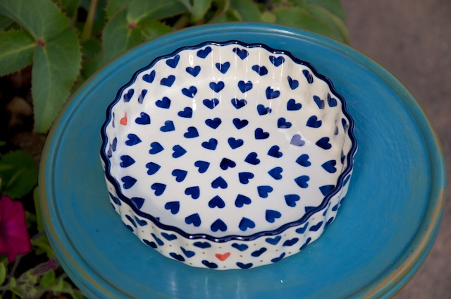 Polish Pottery Small Heart Small Flan Dish.