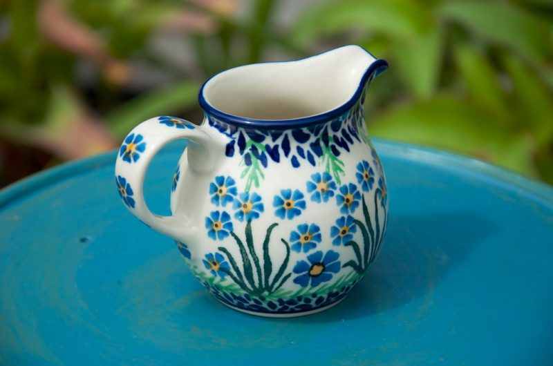 Polish Pottery Forget Me Not Creamer