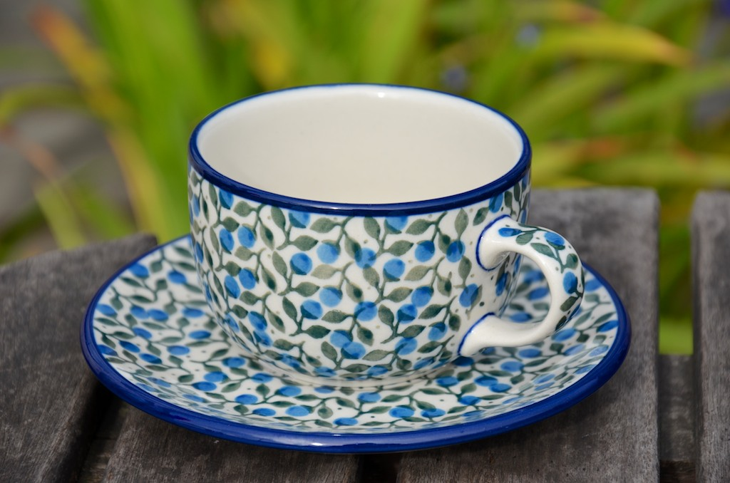 Polish Pottery Blue Berry Leaf Cup and Saucer