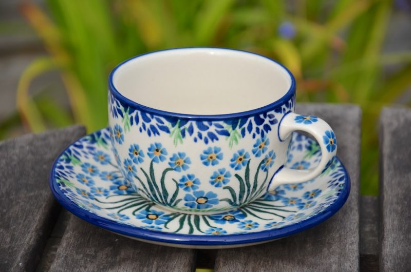 Polish Pottery Forget me Not Cup and Saucer