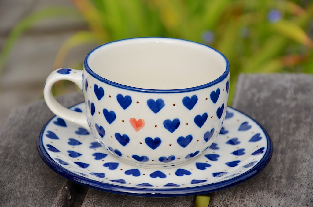 Polish Pottery Small Hearts Pattern Cup and Saucer