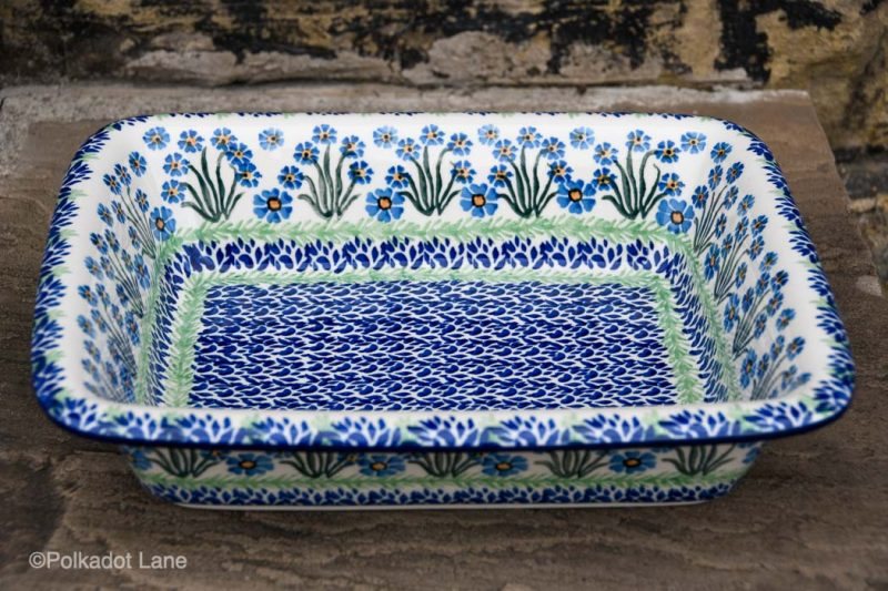 Forget Me Not Large Oven Dish with Rim by Ceramika Artystyczna