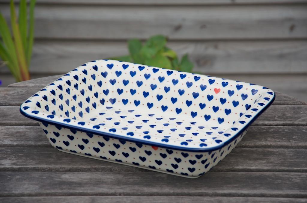 Polish Stoneware Pottery Large Oven Dish Small Hearts Design