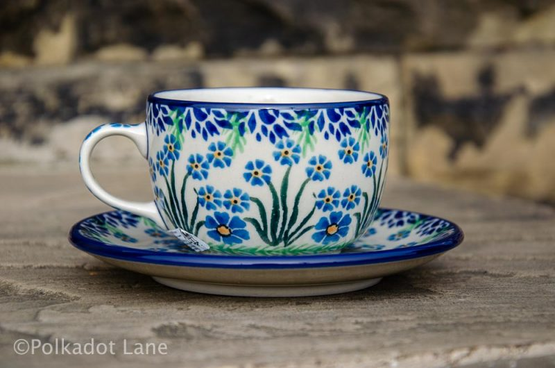 Forget Me Not Cup and Saucer Polish Pottery