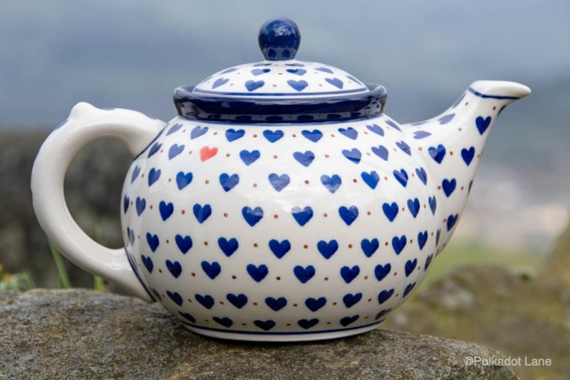 Ceramika Artystyczna Polish Pottery Small Blue Hearts Pattern Teapot for four